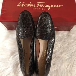 Salvatore Ferragamo Sz 8 A2 Moc Croc Loafers